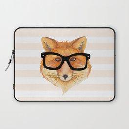 Hipster Fox wearing Black Glasses Laptop Sleeve