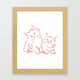 Katzen 001 / Minimal Line Drawing Of Two Cats Framed Art Print