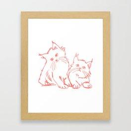 Katzen 001 / Minimal Line Drawing Of Two Cats Framed Art Print