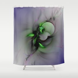 Abstract in Black and Green Shower Curtain