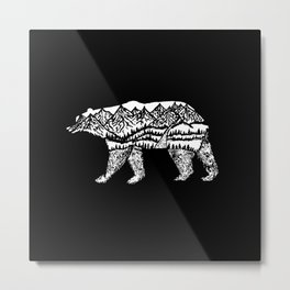 Bear Necessities in Black Metal Print