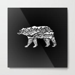 Bear Necessities in Black Metal Print