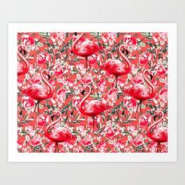 Flamingos and Flowers Art Print