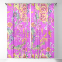 Bold Summer Print on Magenta Pink Sheer Curtain
