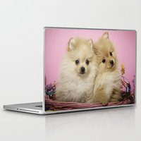 pomeranian Laptop & iPad Skins featuring Pink Pomeranian Brothers by We Speak Puppy