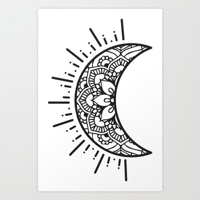 Half Moon Drawing Art Print By Aterkaderk Society6