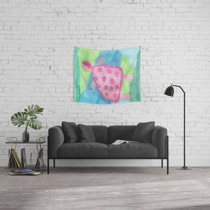 Tropical Pink Turtle Wall Tapestry