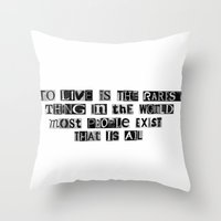 oscar wilde Throw Pillows featuring Oscar Wilde Quote by Rachel Weissman