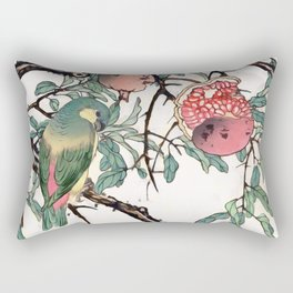 Pomegranate and Lovebirds Rectangular Pillow