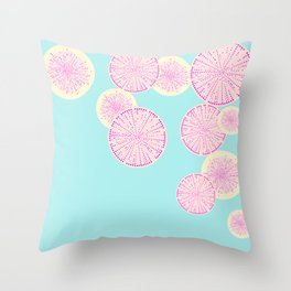 Watermelon Radish Abstract Throw Pillow