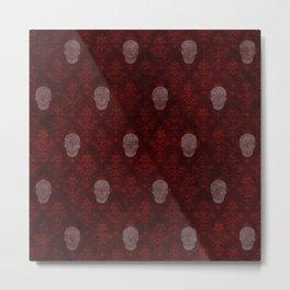 Victorian Skulls Red Metal Print