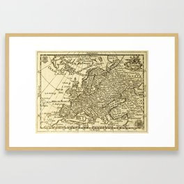 Vintage map of Europe Framed Art Print