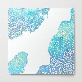 Atomic Bubbles - Aqua, Periwinkle, Yellow, White Metal Print