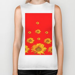 FLOATING GOLDEN YELLOW SUNFLOWERS RED COLOR Biker Tank