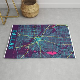 Dallas Neon City Map, Dallas Minimalist City Map Rug