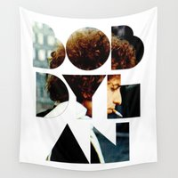 dylan Wall Tapestries featuring Bob Dylan Font Colour by Fligo