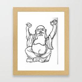 buddha contour Framed Art Print