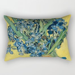 Still Life: Vase with Irises Against a Yellow Background Rectangular Pillow
