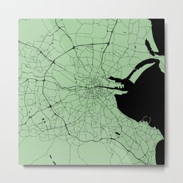 Dublin Ireland Green on Black Street Map Metal Print