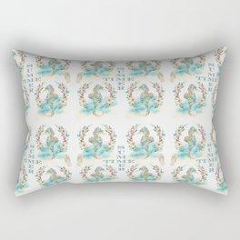 Watercolour Tropical Flowers Wreath Seahorses Summer Time Rectangular Pillow