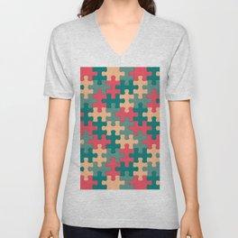 Jigsaw Puzzle Pieces Swanky Pattern Unisex V-Neck