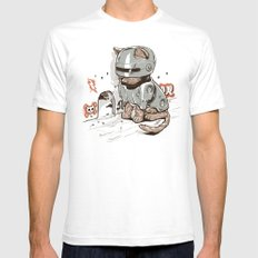 Robocat White Mens Fitted Tee SMALL