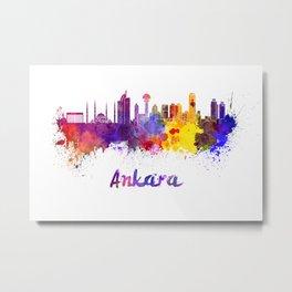 Ankara skyline in watercolor Metal Print