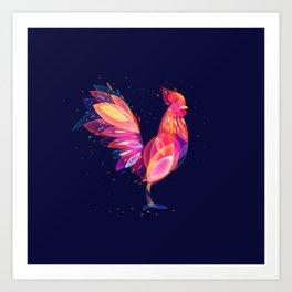 Fantastic Fire Rooster Art Print