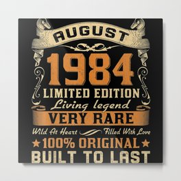 36th Birthday Retro Vintage August 1984 Metal Print