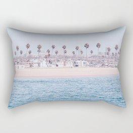 Vintage Newport Beach Print {3 of 4} | Photography Ocean Palm Trees Cool Blue Tropical Summer Sky Rectangular Pillow