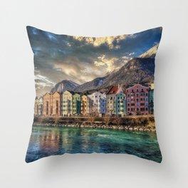 Riverside Innsbruck, Austria Photographic Throw Pillow
