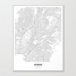 Athens, Greece Minimalist Map Canvas Print