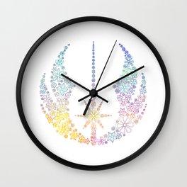 Multicolored Floral Jedi Symbol Wall Clock