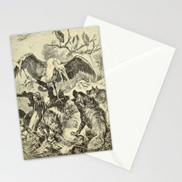 Vintage Print - Animals in Action (1901) - Marabou Stork in Battle with Hyenas Stationery Cards