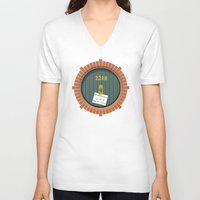 221b V-neck T-shirts featuring 221B Bag End by sirwatson