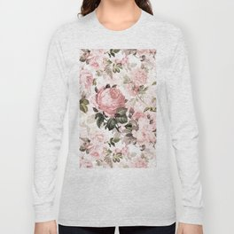 Vintage & Shabby Chic - Sepia Pink Roses Long Sleeve T-shirt