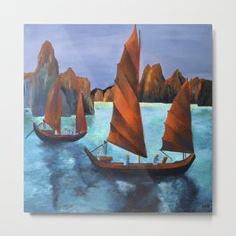 Junks In the Descending Dragon Bay Metal Print
