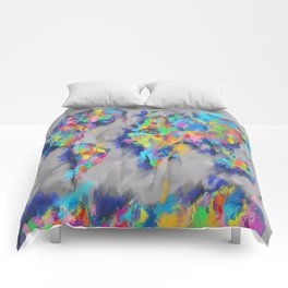 world map brush strokes Comforters
