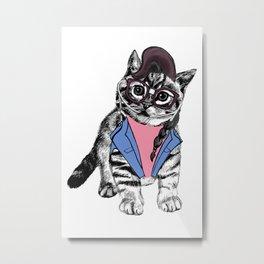 Cat Glasses Metal Print