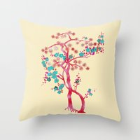asian Throw Pillows featuring Asian Tree by Mimi Matloob Designs