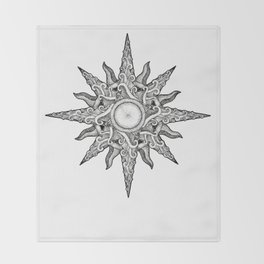 Surf in a Windrose – Compass (tattoo style) Throw Blanket