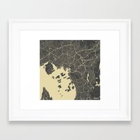 oslo Framed Art Prints featuring Oslo Map by Map Map Maps
