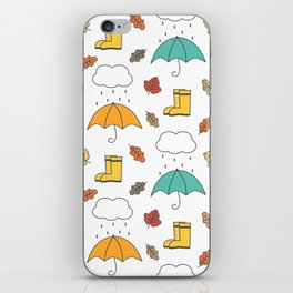 cute lovely autumn pattern with umbrellas, rain, clouds, leaves and boots iPhone Skin