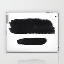 Black And White Minimalist Mid Century Abstract Ink Art Minimal Brush Strokes Black Color Block Laptop & iPad Skin