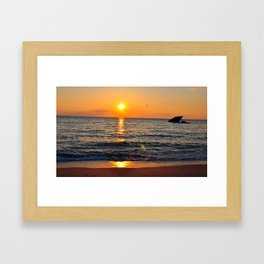 Sunset with remainders of Concrete Ship Framed Art Print