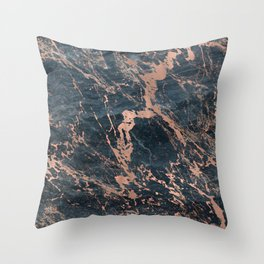 Blue & Rose Gold Marble Throw Pillow