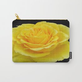 Beautiful Yellow Rose Flower on Black Background Carry-All Pouch