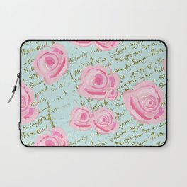 Pink  Roes and French Script Laptop Sleeve