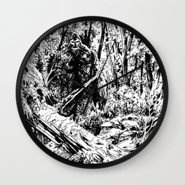 Sasquatch is camouflaged Wall Clock