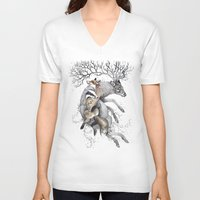 wildlife V-neck T-shirts featuring protect our wildlife  by KatePowellArt